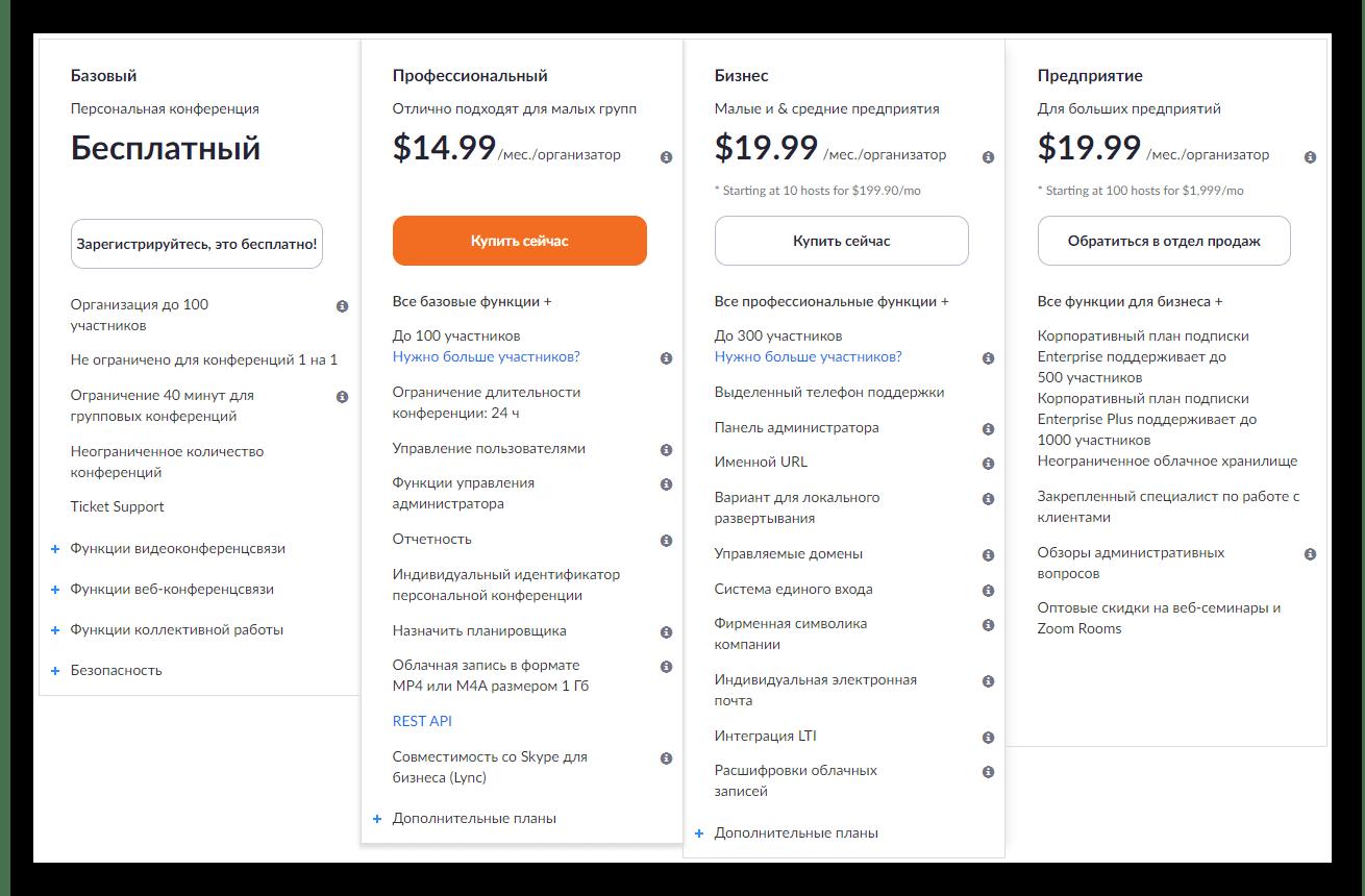 Информация о тарифах и ценах для Zoom