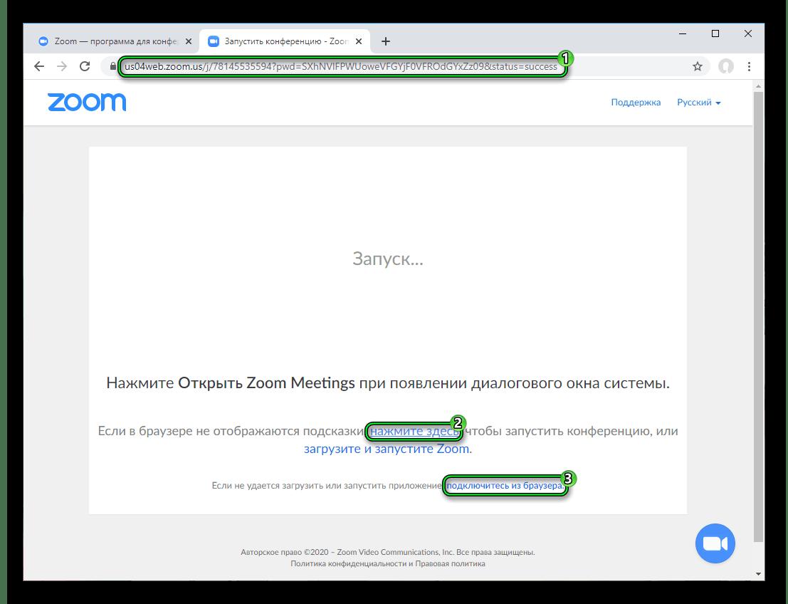 Кнопка Подключитесь из браузера при входе в конференцию на сайте Zoom