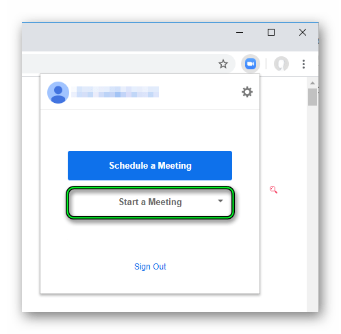 Кнопка Start a Meeting в расширении Zoom Scheduler для Google Chrome