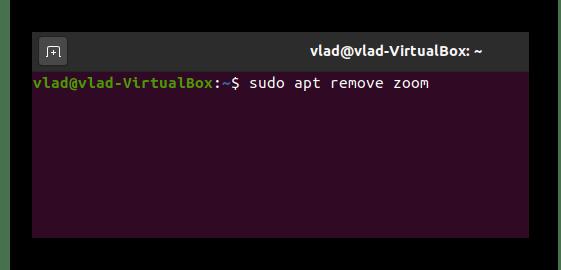 Команда для удаления Zoom через Терминал в Ubuntu