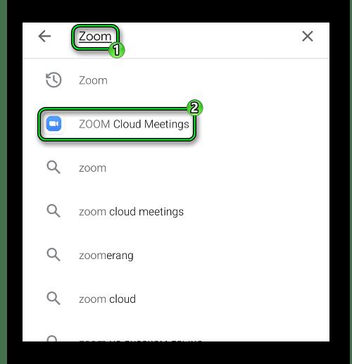 Переход на страницу приложения Zoom через поиск в магазине Play Маркет