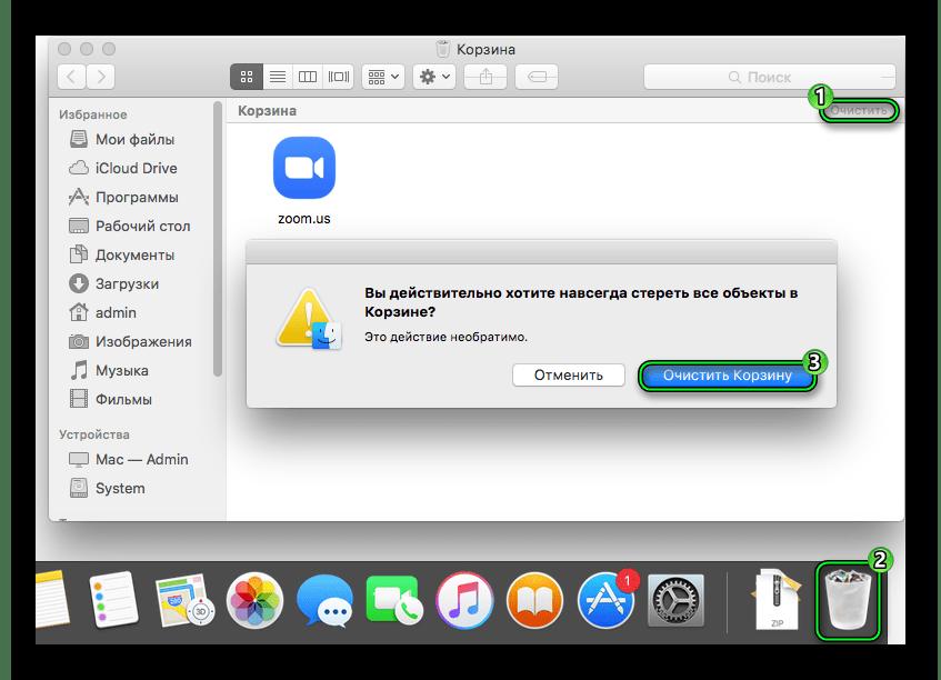 Подтверждение чистки корзины в Mac OS