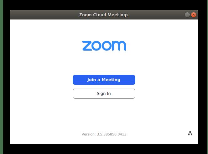 Вид главного окна программы Zoom для Linux