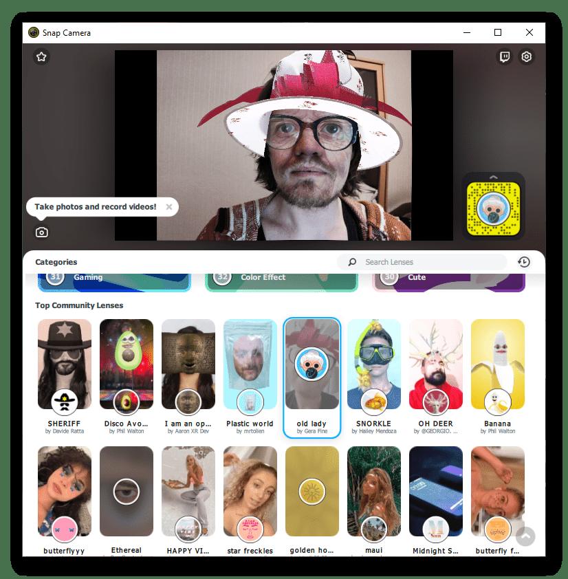 Выбор маски в Snap Camera для Windows